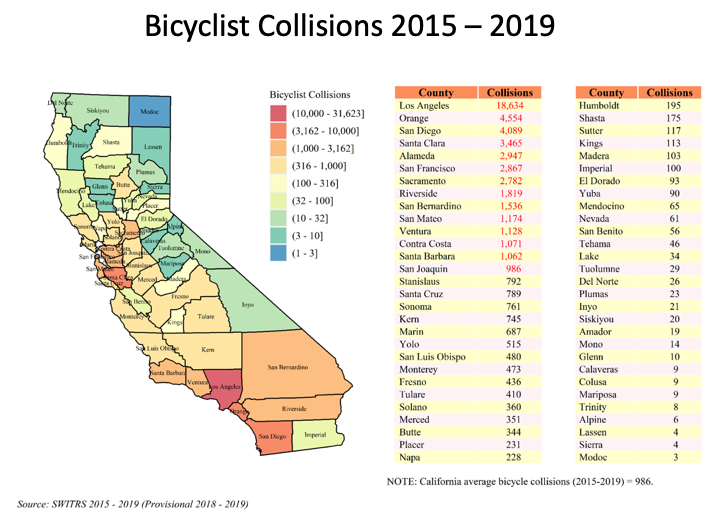 Map showing bicyclist collisions by county from 2015-2019