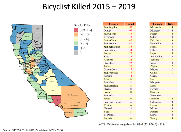 Map showing bicyclist fatalities by county from 2015-2019