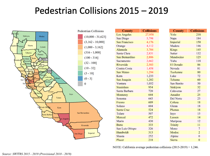 Map showing pedestrian collisions by county from 2015-2019