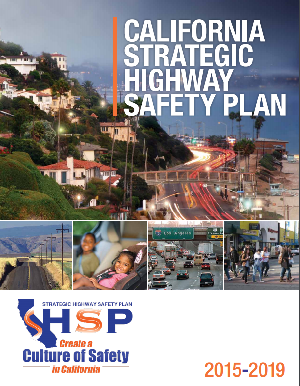 2015-2019 Strategic Highway Safety Plan cover featuring thumbnail images of urban, suburban, and rural roadways.