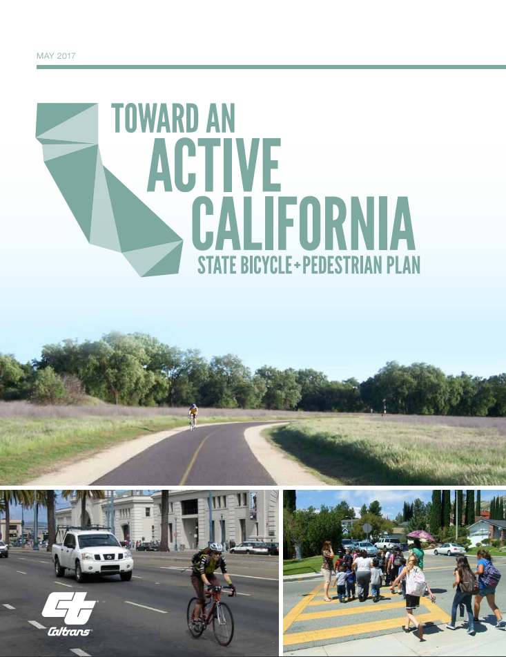 """State Bicycle and Pedestrian Plan"""". Three images feature a person biking on a rural road, someone biking in a motorized vehicle traffic lane in an urban environment, and a group of children using a crosswalk."""