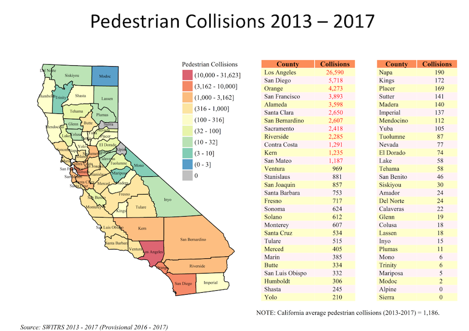 Map of Pedestrian Collisions 2013 - 2017