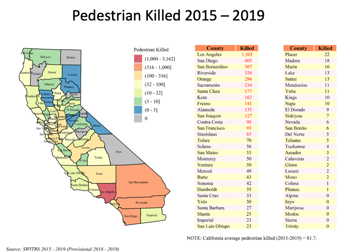 Map showing pedestrian fatalities by county from 2015-2019