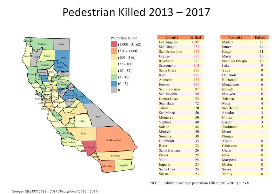 Map of 2013-2017 Pedestrian Fatalities
