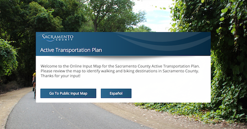 Sacramento County Active Transportation Plan Input Map
