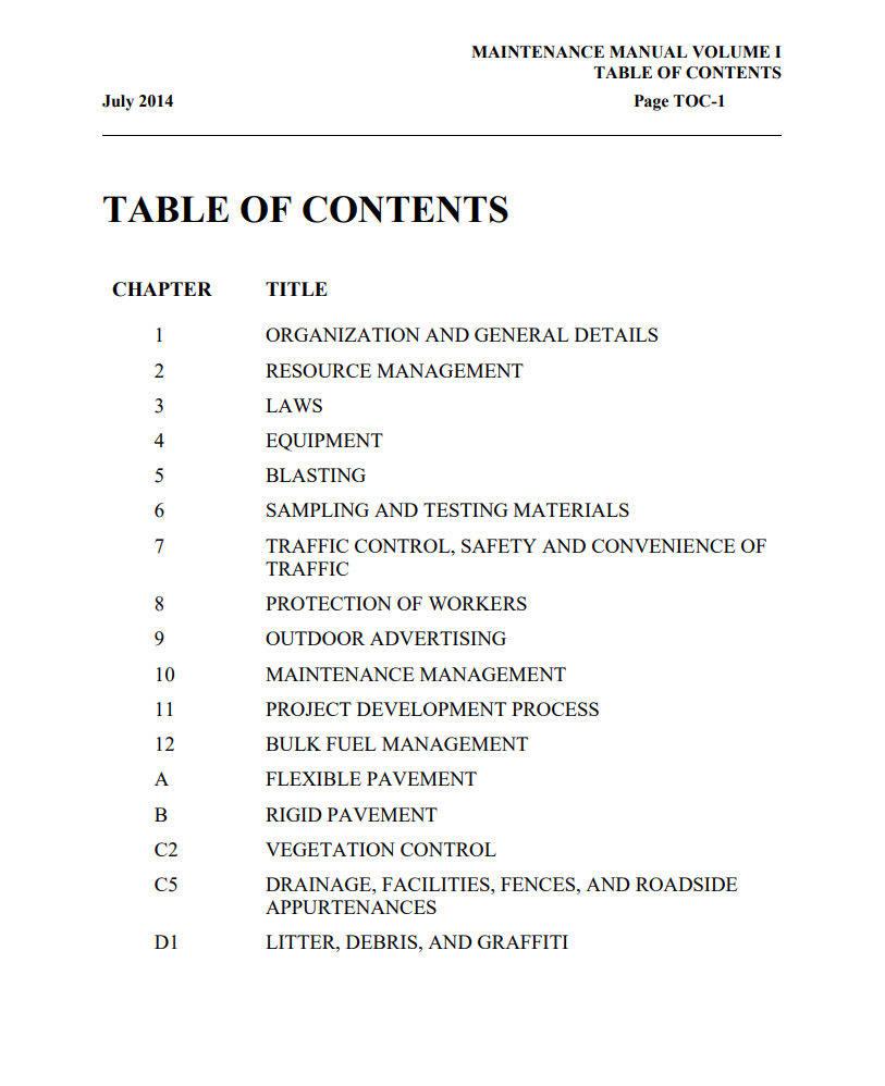 """Text reads """"Table of Contents""""."""