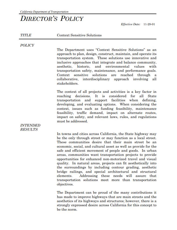 Screenshot of a Caltrans Director's Policy.