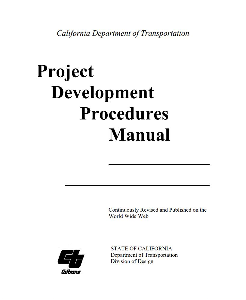 Words display California Department of Transportation Project Development Procedures Manual