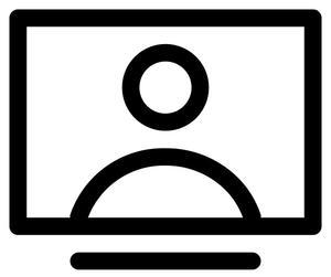 Graphic icon of a webinar presentation