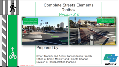 Cover of a Complete Streets elements guide book. Features two photos of crosswalks in urban areas and two graphics showing a pedestrian crossing and a painted green bike lane.
