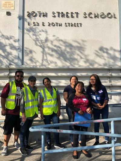 Parent groups at the walking and biking assessments at the 20th Street Elementary School in South LA.